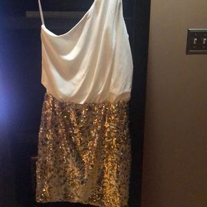 Party dress , cream with gold sequin bottom